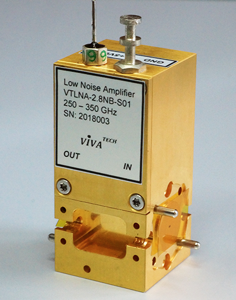 Millimeter Wave Low Noise Amplifier WR2.8 Waveguide 250 to 350 GHz