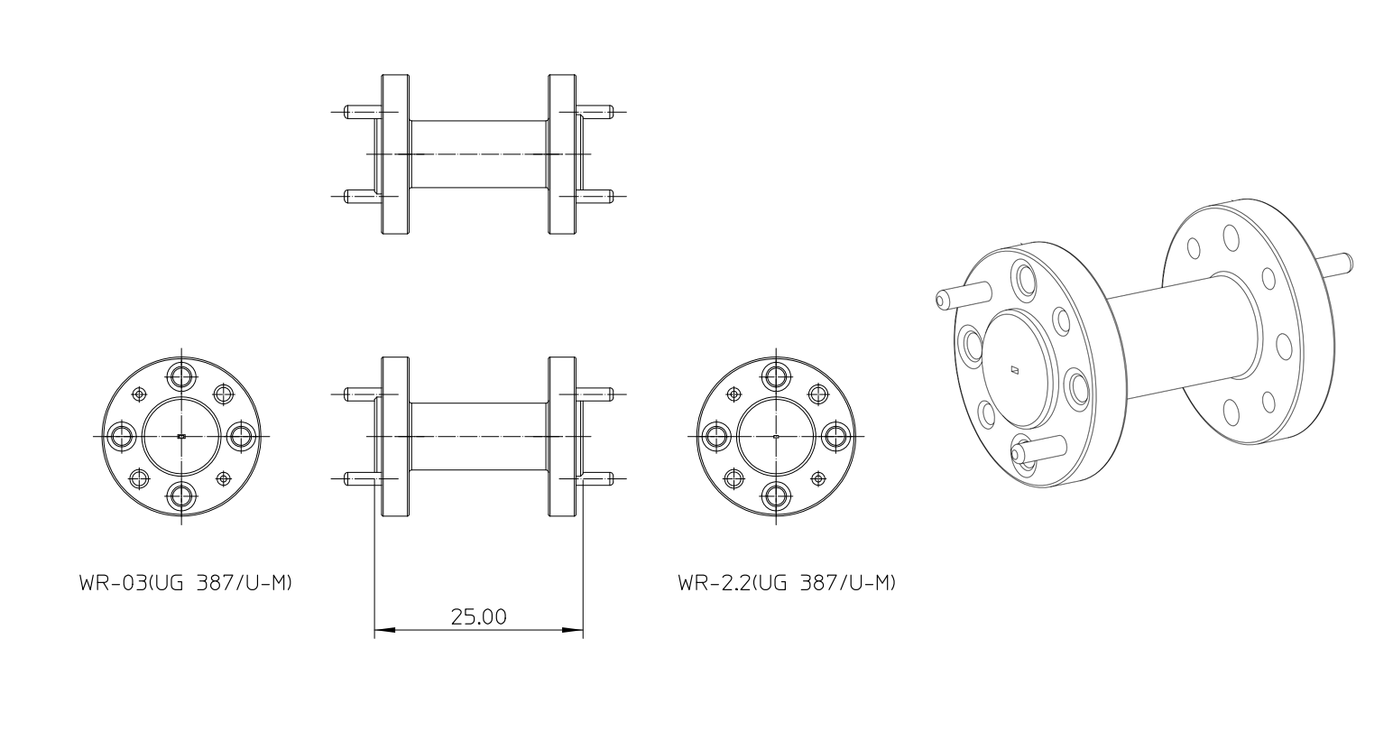 waveguide section outline drawing